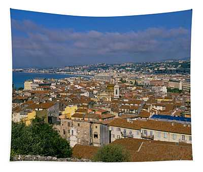 Aerial View Of A City, Nice, France Tapestry