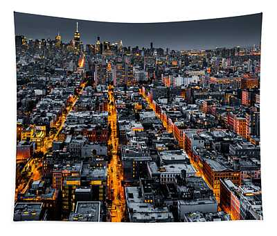 Aerial View Of New York City At Night Tapestry
