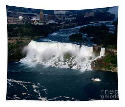 Aerial View Of Niagara Falls And River And Maid Of The Mist Tapestry