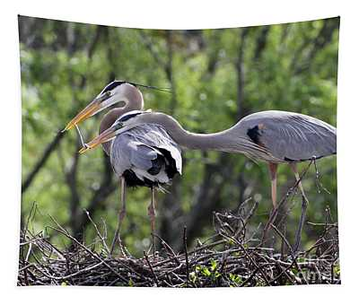 Affectionate Great Blue Heron Mates Tapestry