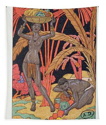 'africa' Illustration For A Calendar For 1921 Tapestry