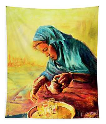 African Chai Tea Lady. Tapestry