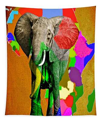 Tapestry featuring the photograph African Elephant Map by Gary Keesler