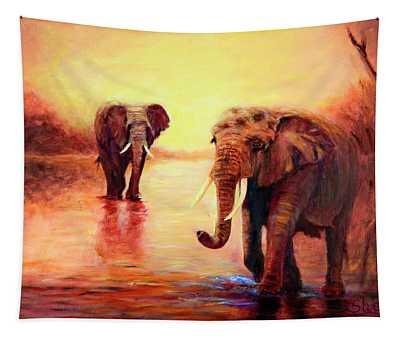 African Elephants At Sunset In The Serengeti Tapestry