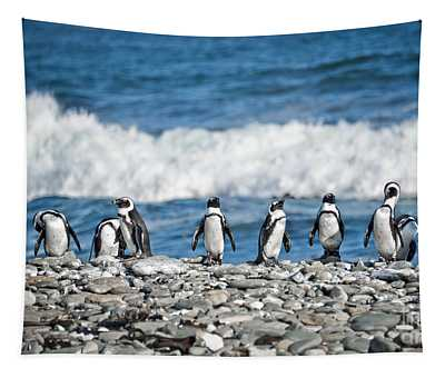 Line Of Penguins Tapestry