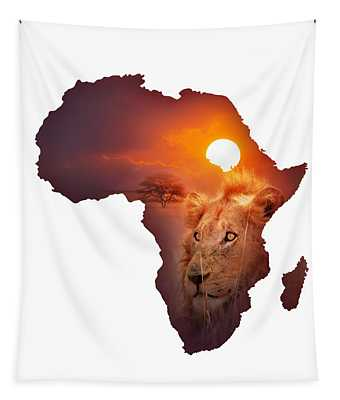 African Wildlife Map Tapestry