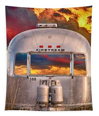 Airstream Travel Trailer Camping Sunset Window View Tapestry