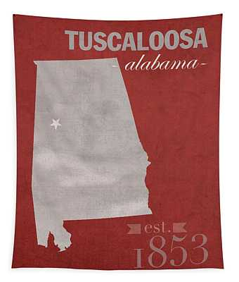 Alabama Crimson Tide Tuscaloosa College Town State Map Poster Series No 008 Tapestry