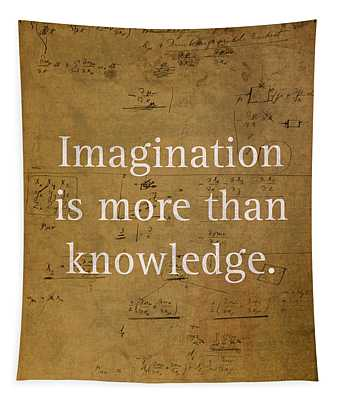 Albert Einstein Quote Imagination Science Math Inspirational Words On Worn Canvas With Formula Tapestry