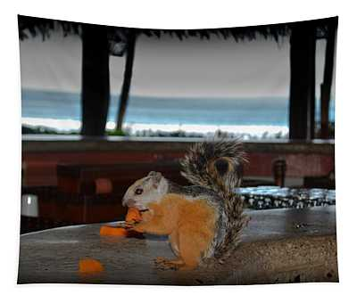 Tapestry featuring the photograph All Inclusive Squirrel by Gary Keesler
