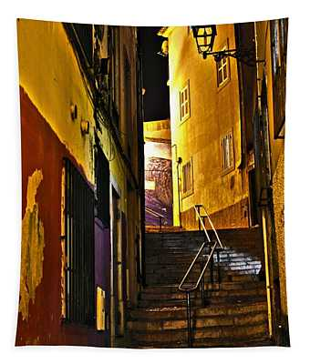 Alley By Night - Cascais - Portugal Tapestry