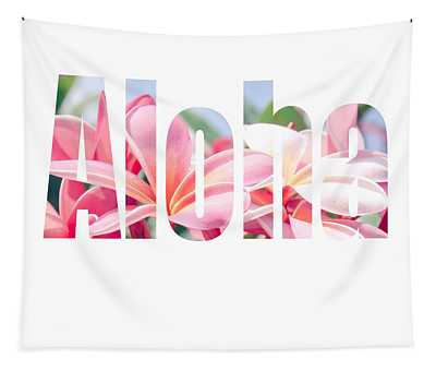 Aloha Tropical Plumeria Typography Tapestry