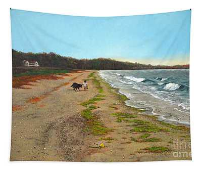 Along The Shore In Hyde Hole Beach Rhode Island Tapestry