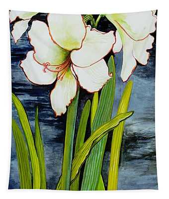 Amaryllis Against A Night Sky Tapestry