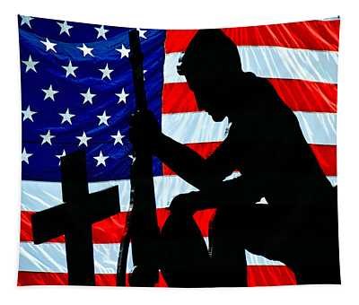 A Time To Remember American Flag At Rest Tapestry