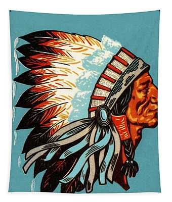 American Indian Chief Profile Tapestry
