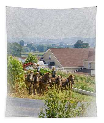 Amish Farmer And Son Tapestry