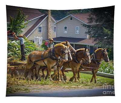 Amish Farmer And Son Working Tapestry