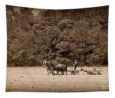 Amish Farmer Tilling The Fields In Black And White Tapestry