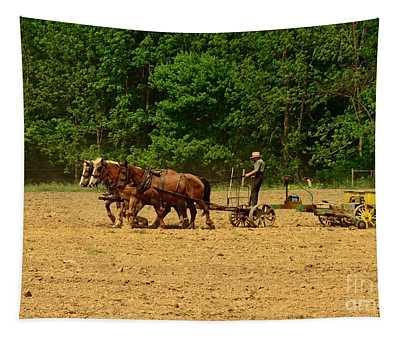Amish Farmer Tilling The Fields Tapestry