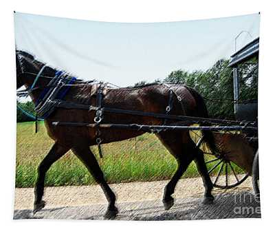 Amish Horse And Buggy In Wisconsin Tapestry