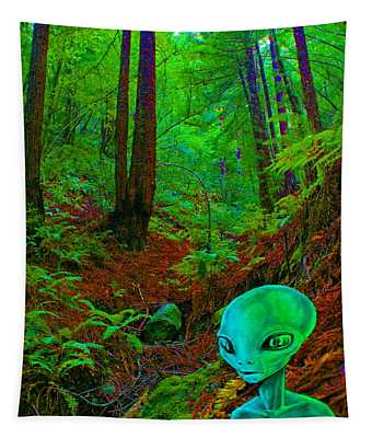 An Alien In A Cosmic Forest Of Time Tapestry