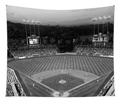 An Evening Game At Dodger Stadium Tapestry