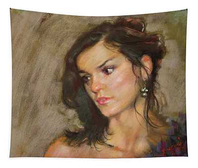 Ana With An Earring Tapestry