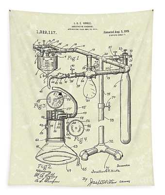 Anesthetic Machine 1919 Patent Art Tapestry