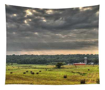 Angry Clouds Over The Farm Tapestry