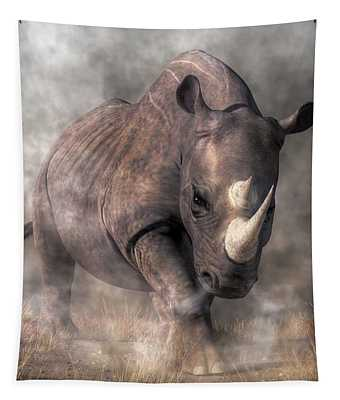 Angry Rhino Tapestry