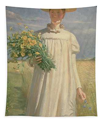 Anna Ancher Returning From Flower Picking, 1902 Tapestry