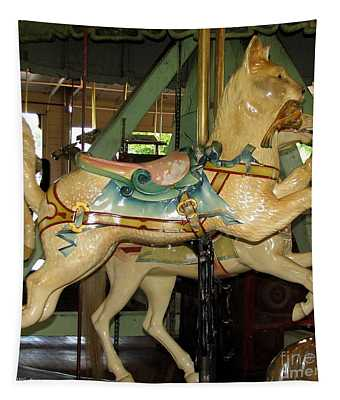 Antique Dentzel Menagerie Carousel Cat Tapestry