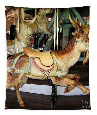 Antique Dentzel Menagerie Carousel Goat Tapestry