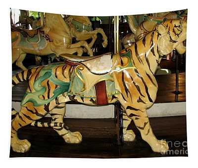 Antique Dentzel Menagerie Carousel Tiger Tapestry