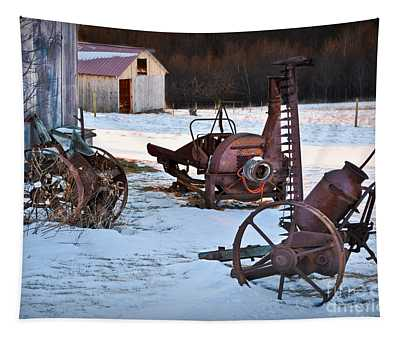 Tapestry featuring the photograph Antique Farm Equipment by Gary Keesler