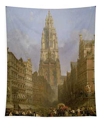 Antwerp Cathedral, 1860 Oil On Canvas Tapestry
