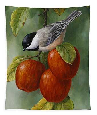 Apple Chickadee Greeting Card 3 Tapestry