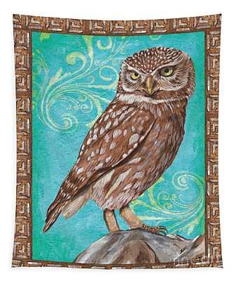 Aqua Barn Owl Tapestry