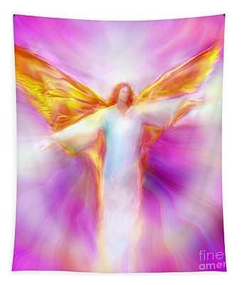 Archangel Sandalphon In Flight Tapestry