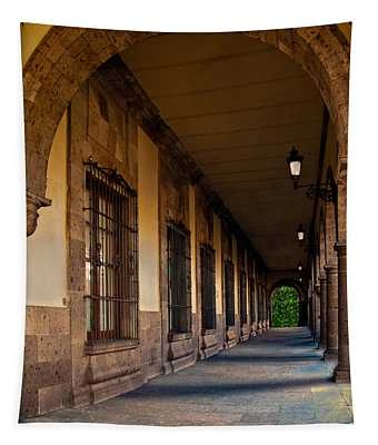 Tapestry featuring the photograph Arched Corridor by Gary Keesler