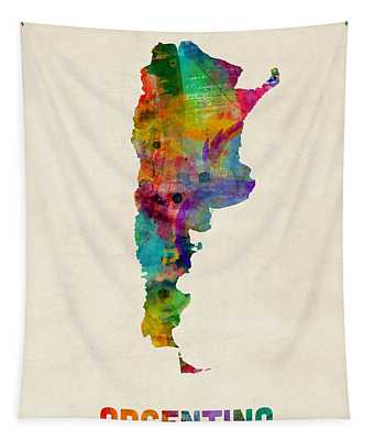 Argentina Watercolor Map Tapestry
