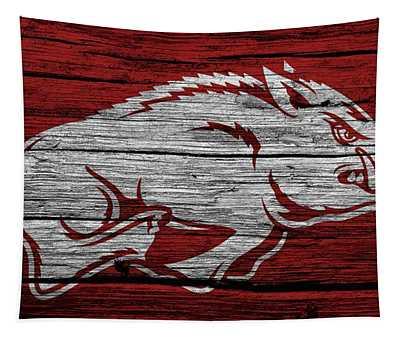 Arkansas Razorbacks On Wood Tapestry