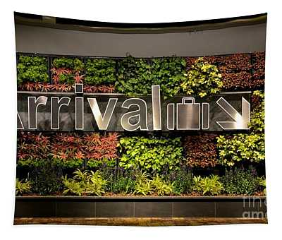 Arrival Sign Arrow And Flowers At Singapore Changi Airport Tapestry
