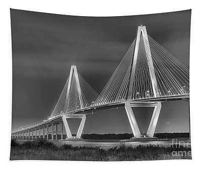 Arthur Ravenel Jr. Bridge In Black And White Tapestry