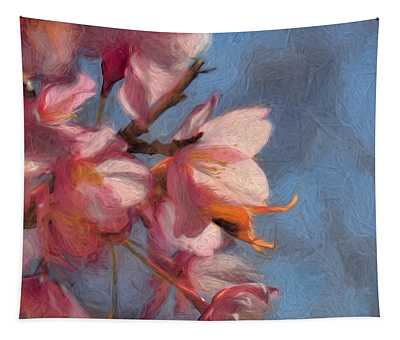 Artisic Painterly Cherry Blossoms Spring 2014 Tapestry