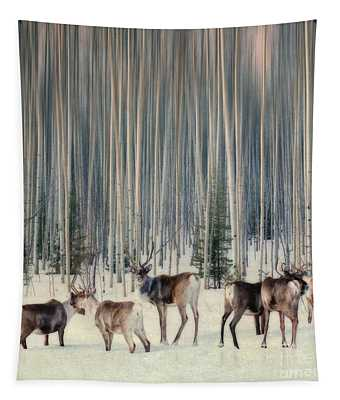Caribou And Trees Tapestry