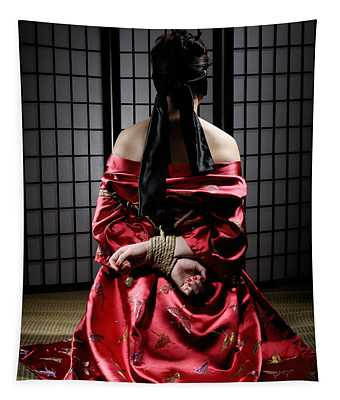 Asian Woman With Her Hands Tied Behind Her Back Tapestry