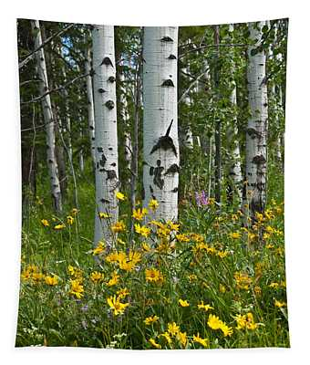 Aspen Trees And Wildflowers Tapestry