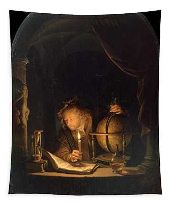 Astronomer By Candlelight Tapestry